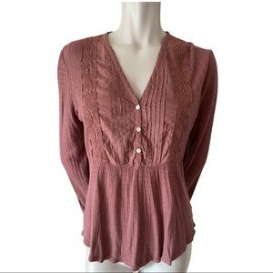 Lucky Brand Plum V Neck Top Size Medium